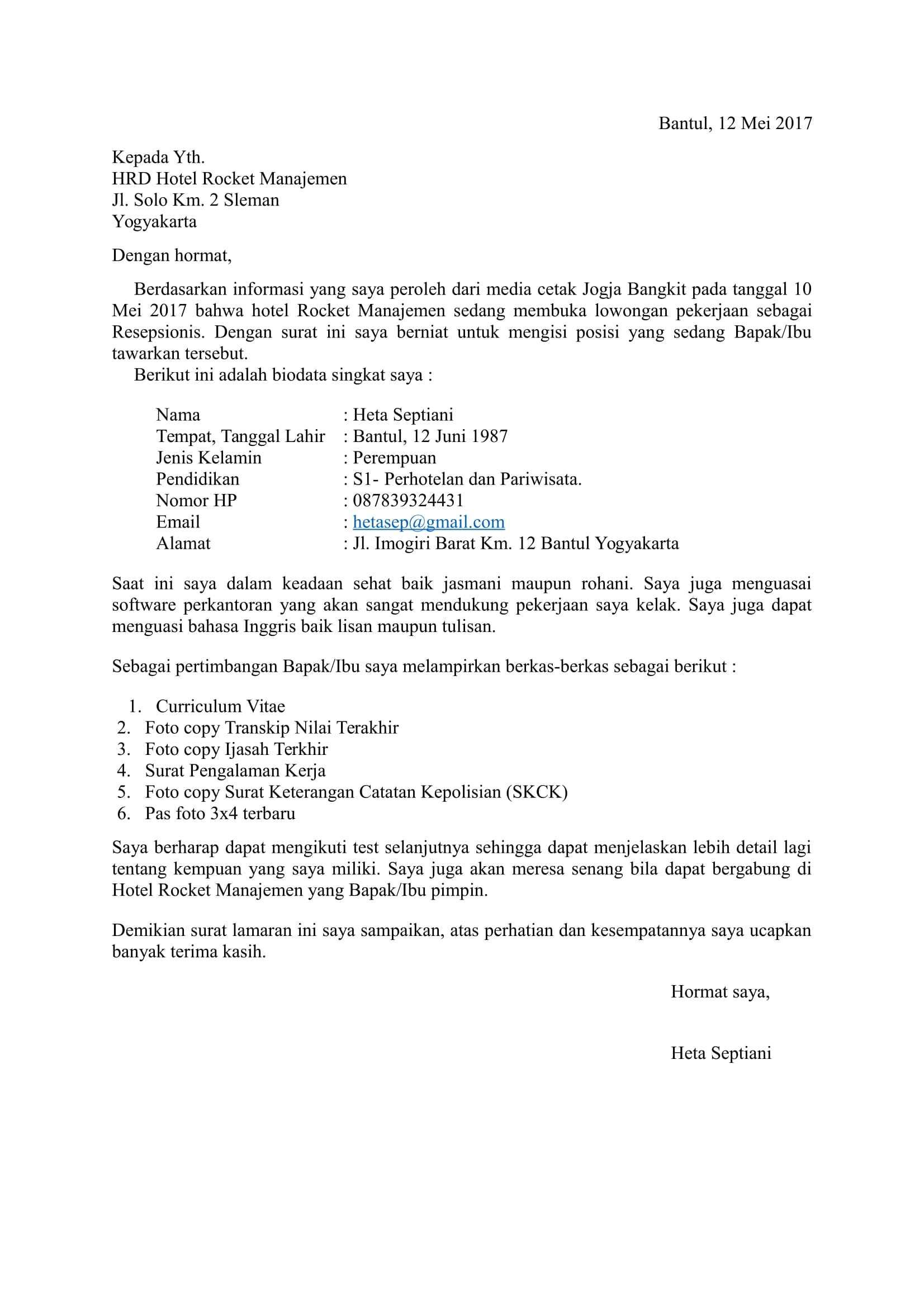 Surat Lamaran Semi Block Style