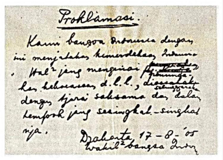 Teks Proklamasi Kemerdekaan Asli Tulisan Tangan Ir. Soekarno